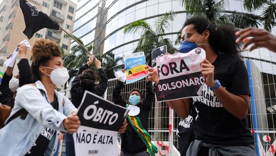 Manifestação junto à sede da Prevent Senior, em São Paulo, na sequência das denúncias feitas na Comissão de Inquérito do Senado